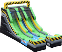15' Caution Double Lane Water Slide