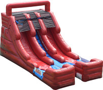 15' Double Lane Red Marble Water Slide