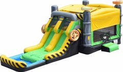 Caution Double Lane Bounce House Combo Wet