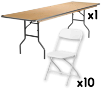 1 8 FT Table + 10 Chairs