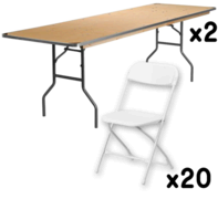 2 Tables + 20 Chairs