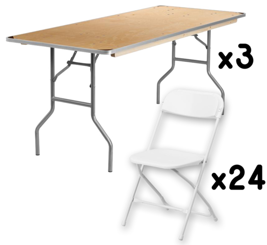 3 6FT Table + 24 Chairs