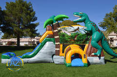 Jurassic Dinosaur Water Slide Bounce House Combo
