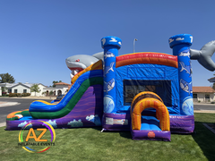 Shark Bounce House Double Water Slide Combo