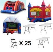 "<span style=""color:#0000ff;""><strong>3 In 1 Inflatable Party Package</strong></span><br /> <span style=""color:#ff0000;""><strong><strike>$500</strike></strong></span><span style=""color:#0000ff;""><strong>  Package Price $455</strong></span><br />"