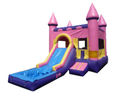 Pink Castle w/slide and BB Hoop and Water Tub