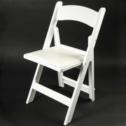 Adult White Resin Chair with padded seat