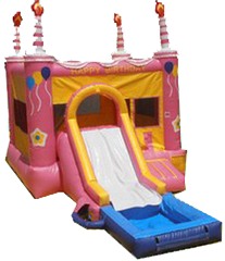 Pink Birthday Cake w/ slide and hoop #1 and water tub
