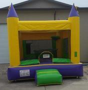 Green and Yellow 15 x 15 Bounce House w/ basketball hoop
