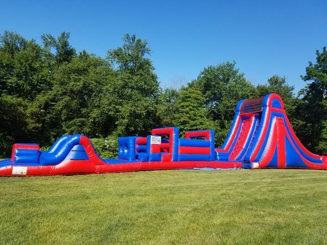 88ft Double Lane Obstacle Course with 20ft Rock Wall Slide