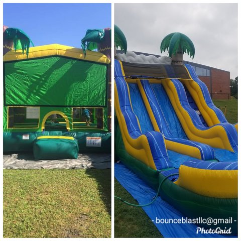 Tiki Bounce House  and Topical Water Slide
