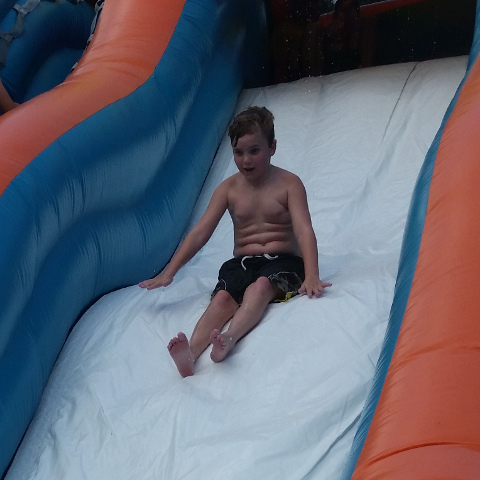 Big Kahuna Water Slide with Gavin sliding down