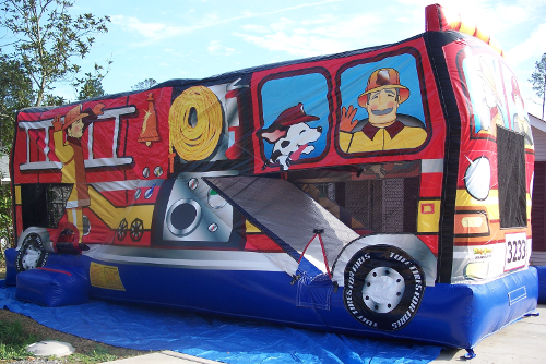 Fire Truck Inflatable Combo Bouncer Exterior