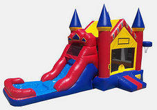 Red Castle Water Slide with Pool & Hoop 101Z