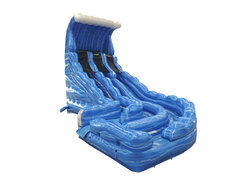 22Ft Blue Hurricane Double Lane Curve water Slide!