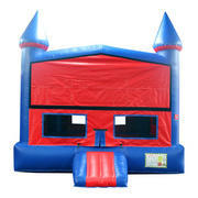 Red n blue Mod Castle Bounce House/ w basketball goal
