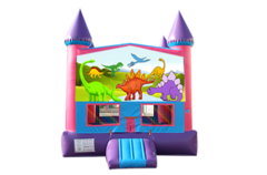 Dinosaurs pink and purple bounce house