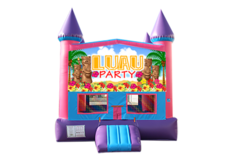Luau pink and purple bounce house