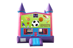 Sports pink and purple bounce house