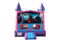 Superman pink and purple bounce house
