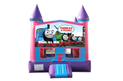 Train pink and purple bounce house