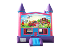Fire Truck pink and purple bounce house