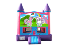 Unicorn pink and purple bounce house