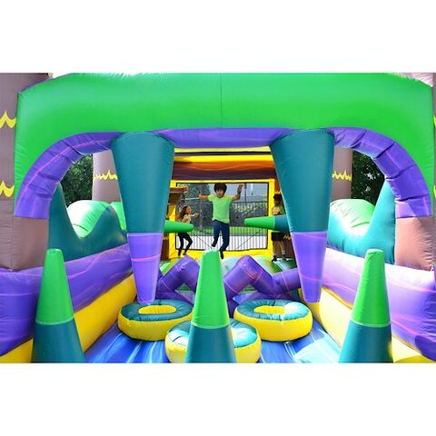 30 Ft Palm Beach Obstacle Bounce House inside