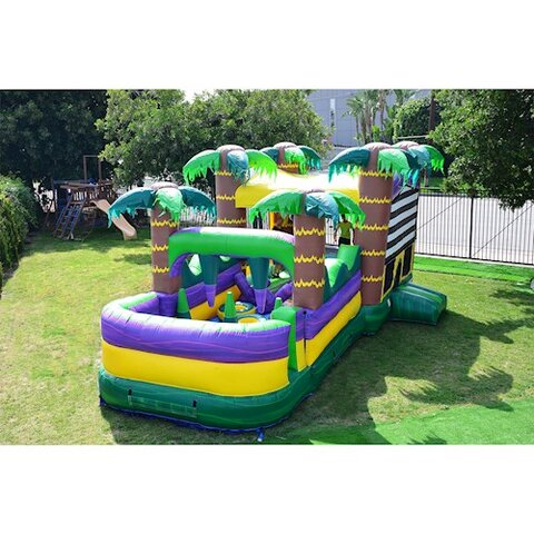 30 Ft Palm Beach Obstacle Bounce House on grass