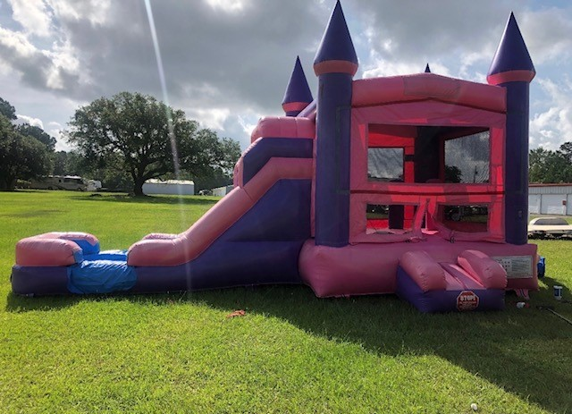 pink wave combo slide and bounce house