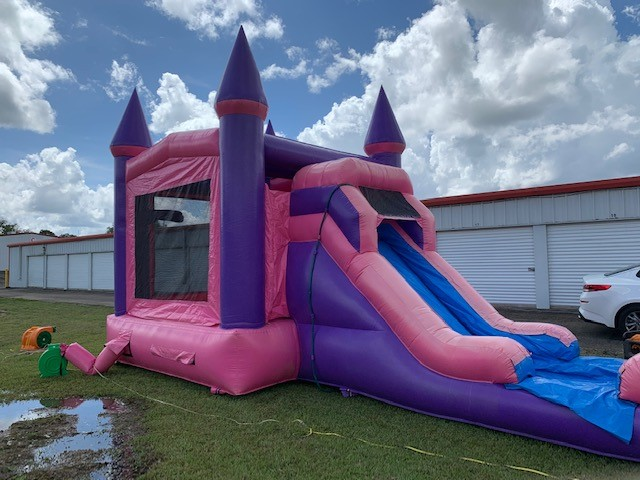 Pink Wave Bounce House Slide combo