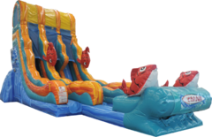 22 Ft Double Lane Big Kahuna Water Slide (2020 MODEL)Best for ages 6+Size 38'L x 18'W x 22'H*NEW AUGUST 2020*
