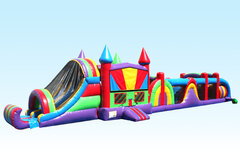 68 FT Obstacle Course w/ Bounce House & Slide (Wet)Best ages 4+Size 68L X 13W X 14H