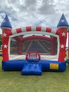 Patriotic Open Air Bounce House (135)Best for ages 2+Size 15'W X 15'L X 15'H  ***Popular Unit***