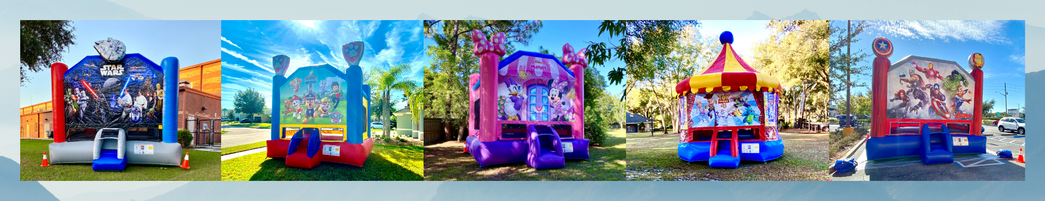 Star Wars, Paw Patrol, Minnie, Toy Story 4, Avengers Bounce Houses