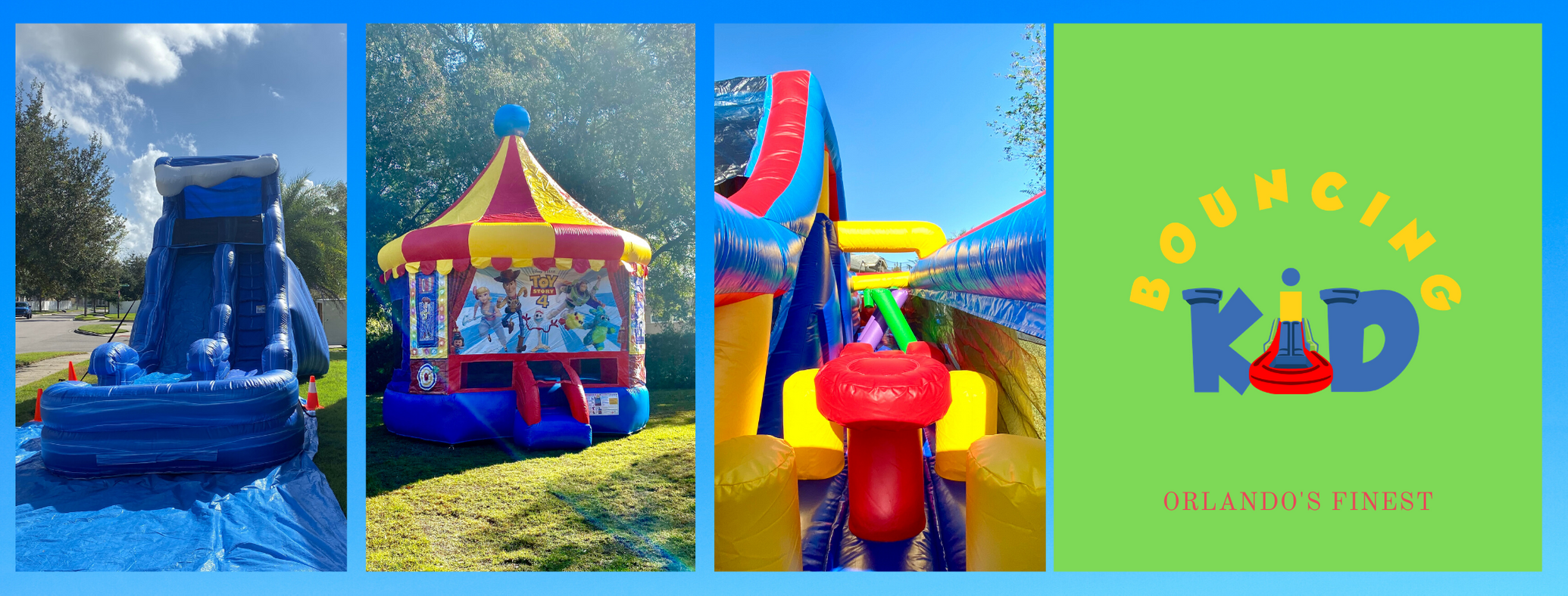 Waterslide, Toy Story 4 Bounce House, 28 Obstacle Course and Bouncing Kid Logo