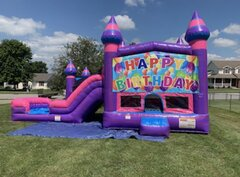 Happy Birthday Castle Dual Water/Dry Slide