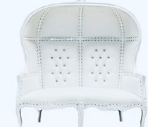 WHITE ON WHITE EGGBACK DOUBLE SETTEE THRONE