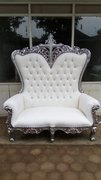 Double Silver/white high back throne with cross
