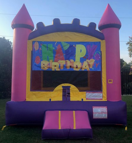 Pink Happy Birthday Bounce House Rental