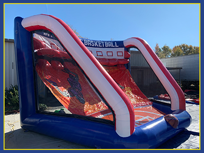 Angled view of the left side of the basketball interactive inflatable.
