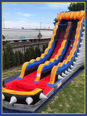 Close view of the water slide and ladder portion, which is colored red.