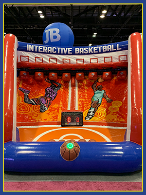 Front view of the Interactive Basketball with the IPS System buttons and scoreboard inserted into the unit