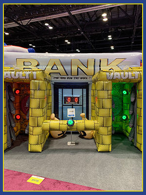 Front view of bank themed interactive game that functions on IPS System.