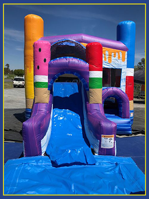 Front view the splash pad for the combo water slide with three dimensional ice pops.