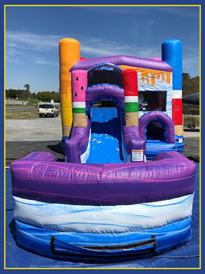 Front view of the combo water slide design with three dimensional ice pops.