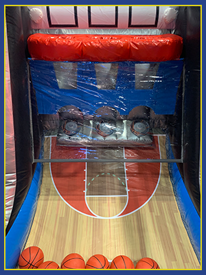 Close up look inside the left side of the Hot Shot Interactive's vinyl baskets and basketball court design