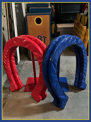 Giant Horse Shoes designed with red and blue vinyl.