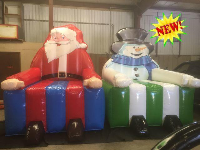 Jumbo Santa Claus and Frosty the Snowman novelty chair set