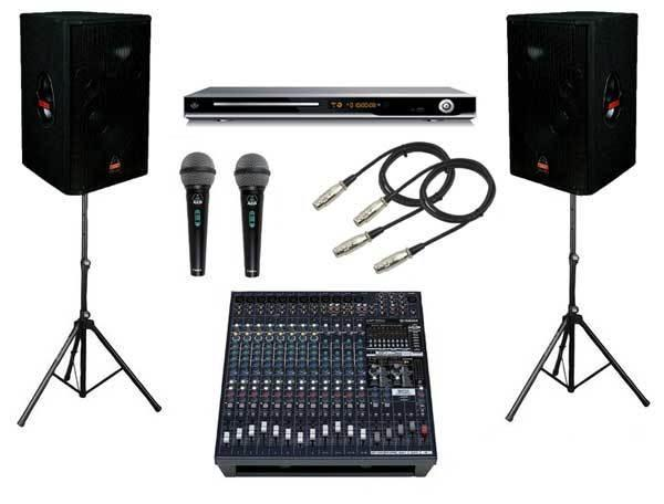 Wireless PA System w/ 2 Mics, Mixer and 2 speakers